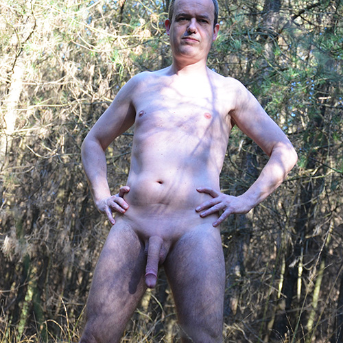 Boy pee in the wood in the nude